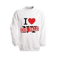 Pfalz-Pullover: I love Pfalz (weiß)