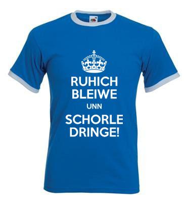 T-Shirt: Ruhig bleiben und Schorle trinken in blau